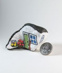 Dachshund. Weiner House. Hand Painted Natural Rock by qvistdesign