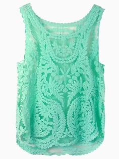 Green Crochet Lace Vest with Mesh Insert | Choies