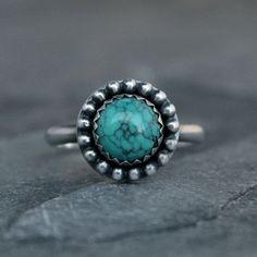 Desert Sky Turquoise Ring Solid Sterling Silver Ring by KiraFerrer