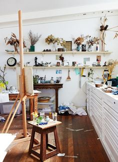 art room, interior, home, studio, draws, shelving, plants, inspiration, desk, workspace, wooden floors, stool