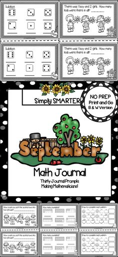 Are you looking for a NO PREP math activity for preschool, kindergarten, or first grade? Then enjoy this math journal which is comprised of THIRTY HARVEST themed MATH JOURNAL PROMPTS. The journal prompts can be used for guided math, math centers, independent work, buddy work, and homework. The journal pages can be chosen by the teacher to best meet the needs of the student and assembled into a journal with the provided cover. This resource is perfect for the new school year.