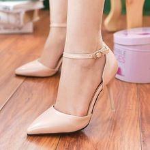 Coreano sexy bem com sandálias de salto alto fivela para ajudar baixo sandálias apontou sandálias das senhoras(China (Mainland))