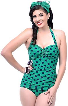 a53d3320b0e Buy Esther Williams Vintage 1950s Style Pin Up Green   Navy Polka Dot  Swimsuit online