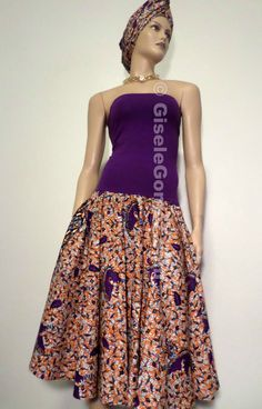 African Print Convertible Dress/Skirt  by GiseleGomezCreations