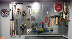 Wall Control's Custom 48in Tall Galvanized Metal Pegboard creating useful storage space on some otherwise empty wall space. Wall Control Metal Pegboard comes standard in 16in x 32in modular panels but we do offer a custom 16in Wide x 48in Tall Galvanized Pegboard Pack when supplies are available. Thanks for the great customer submission Jason!