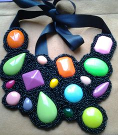 Chunky maxi necklace -embroidery beadwork - for sale at my shop on facebook and etsy