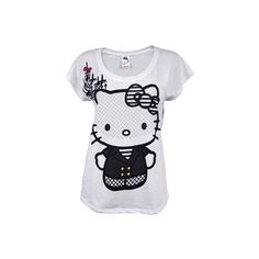 Ladies Hello Kitty Couture T Shirt by Mighty Fine (33 AUD) ❤ liked on Polyvore featuring tops, t-shirts, shirts, hello kitty, couture shirts, hello kitty top, tee-shirt and couture tops