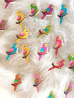 - size: x x - material: wood ~ The price concerns a set button). ~ The set consists of 5 buttons ( colours are selected randomly). ~ The button possesses two holes. More craft supplies are Parrot, Exotic, Tropical, Scrapbooking, Nursery, Kids Rugs, Etsy Shop, Bird, Unique Jewelry