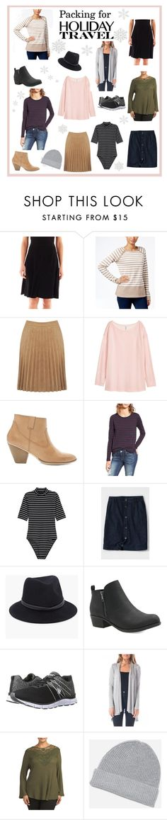 """""""Packing for Holiday Travel"""" by lanaebond ❤ liked on Polyvore featuring Liz Claiborne, Karen Scott, H&M, Forever 21, BP., Lands' End, Chico's, U.S. Polo Assn., holidays and denimskirt"""