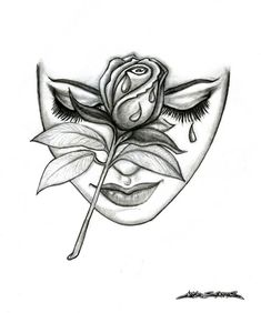 Rose Face by MuddyGreen on DeviantArt - Rose Face Pencil Drawing. *I looked at this picture where someone had photoshopped a rose on a woma - Face Pencil Drawing, Pencil Drawings Of Love, Female Face Drawing, Dark Art Drawings, Tattoo Design Drawings, Art Drawings Sketches Simple, Tattoo Sketches, Rose Drawings, Drawing Of A Rose