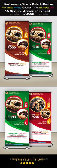 Restaurants/Foods Roll-Up Banner by mehedi_hasan FEATURES: Easy to edit text/color/Photo.3 PSD files included.3070inc Print dimension.1inc bleed.150dpi Resolution.CMYK color.Fully