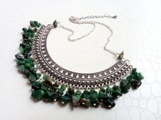 African jade bohemian necklace by MercysFancy on Etsy