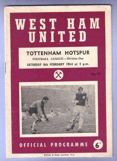 West Ham United v Tottenham Hotspur 1963/1964 Football Programme Division 1