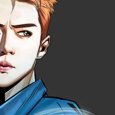 "Sehun - 170720 Illustrator Yim Sunggu's Instagram update: ""EXO KoKo Bop The War Album Illustration Detail Cut SE HUN by @_byfrank"" Credit: _byfrank."