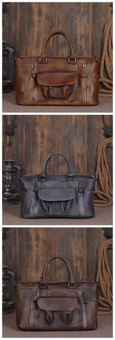 Handmade Vintage Genuine Leather Briefcase Men\'s Business Bag Handbag Messenger Bag Laptop Bag 14136 Overview: Design: Vintage Leather Men Briefcase In Stock: 4-5 days For Making Include: Only Leather