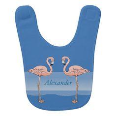 Tropical Pink Flamingos at the Beach Baby Boy Blue Bib