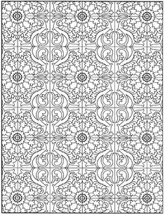 Page 28 from Decorative Tile Designs by Marty Noble Detailed Coloring Pages, Pattern Coloring Pages, Cool Coloring Pages, Colouring Pics, Coloring Pages To Print, Coloring Sheets, Coloring Books, Free Adult Coloring, Adult Coloring Book Pages