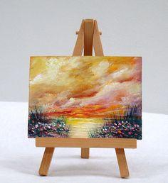 Sunset, 3x4, original, oil painting, miniature art, fine art, wall art by valdasfineart on Etsy AVAILABLE