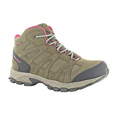 Hi-Tec Women's Alto Mid WP Walking Boot - The boots have a lightweight injection moulded EVA midsole for cushioning and comfort, and lightweight webbing ghilly lacing system for a secure fit. The sandy dune suede leather and mesh upper with a touch of pink adds a feminine touch and makes the Alto Mid apart from the standard 'brown boot'. A soft collar adds comfort and ankle support while the rubber lugged outsole as traction making the boot suitable for varied terrains.