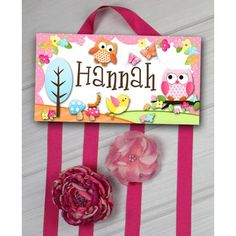 Toad and Lily Pink Owl Personalized Hair Bow Holder Organizing Hair Accessories, Girls Hair Accessories, Owl Wall Decals, Rainbow Chevron, Pink Owl, Hair Bows, Lily, Gift Wrapping, Diy Crafts
