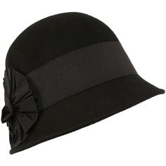 SK Hat shop Wool Winter Cloche Bucket Bell Ribbon Bow Hat Black With... ($22) ❤ liked on Polyvore