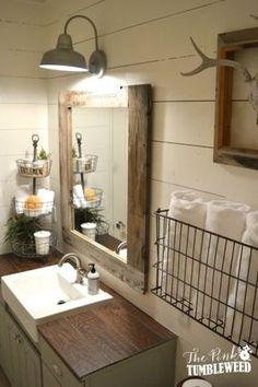 Farmhouse Bathroom with wood-look tile as countertop surface.