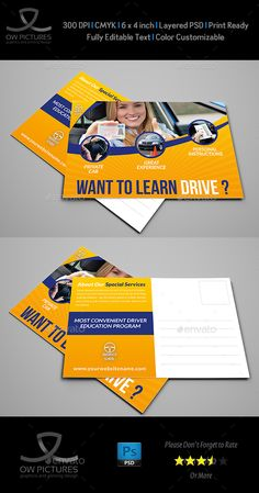 #Driving #School Postcard Template - Cards & #Invites Print Templates Download here: https://graphicriver.net/item/driving-school-postcard-template/19688129?ref=alena994