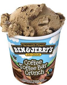 Ben & Jerry's removing genetically modified organisms from its ice creams; for example, it cast out the Hershey's (HSY) toffee bars found since 1986 in its popular Coffee Heath Bar Crunch flavor. The generic replacement rolled out earlier this year calls itself simply Coffee Toffee Bar Crunch—no second-party brand name in the mix. The problem? The Vermont ice cream company is committed to using non-genetically modified ingredients, and Hershey is not.  Thank you Ben and Jerry's!