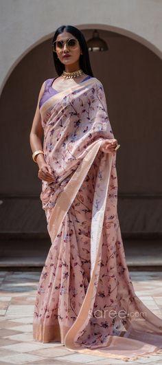 Half Saree Lehenga, Wedding Sari, Light Peach, Party Wear Sarees, Photo Reference, Cotton Silk, Indian Sarees, Floral Prints, How To Wear