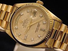 Mens Rolex Solid Yellow Gold Day Date President Linen Diamond 18038 Day Date President, Gold Watches Women, Gold Rolex, Rolex Day Date, Fashion Bracelets, Rolex Watches, Solid Gold, Presidents, Rose Gold