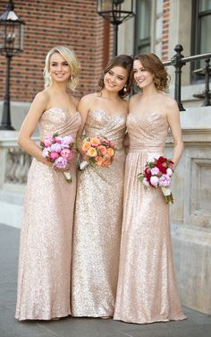 Sparkly Strapless Rose Gold Long Sequins Bridesmaid Dress