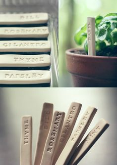DIY Garden Markers made out of polymer clay. Perfect for herbs! Herb Markers, Plant Markers, Diy Garden, Garden Crafts, Herb Garden, Garden Stakes, Garden Ideas, Plant Crafts, Diy Clay