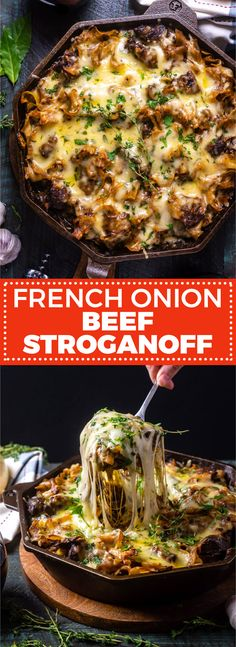 French Onion Beef Stroganoff - Host The Toast - French Onion Beef Stroganoff. This spin on French Onion Soup is hearty, comforting, and perfect for - Beef Steak Recipes, Meat Recipes, Dinner Recipes, Onion Recipes, Cooking Recipes, Beef Dinner Ideas, Weeknight Recipes, Game Recipes, Meal Ideas