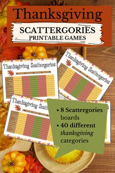 Scattergories Thanksgiving  Game - Family Thanksgiving Games Printable
