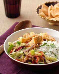 Vis-curry met roerbakgroente recept