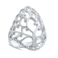 Tree Of Life Genuine Sterling Silver Family Tree Ring, 24MM Large Ring Size 5-10 #Unbranded #TreeOfLifeRing