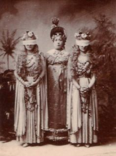 """Alfred Ellis photograph of Rosina Brandram as Lady Sophy in Act 1 of the original production of """"Utopia Limited"""" (1893) with Emmie Owen and Florence Perry."""