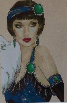 Cross Stitch Chart Art Deco Lady in Blue Dress and Green Jewels No 13VB 84B | eBay