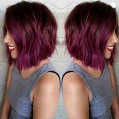 Long bob purple ombre hair