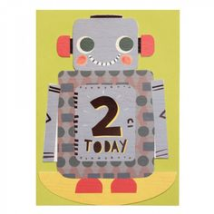 Robot rocking 2nd birthday card