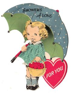 JG SCOTT VALENTINE - CUTE GIRL WITH UMBRELLA - SHOWERS OF LOVE 4U / VINTAGE CARD #Gibson