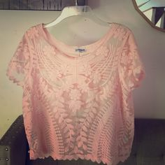 Pink lace top Never worn Express Tops Blouses