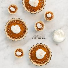 Not only are these mini pumpkin pies adorable, they are also vegan! Get the recipe from Love & Lemons.   - Delish.com