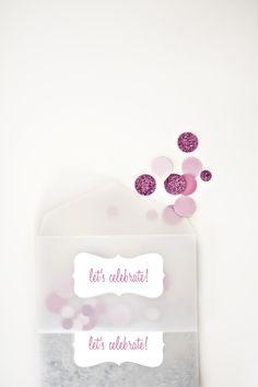 Engagement party invites...love the glitter dot confetti! from weddingchicks.com