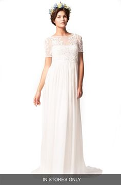 Temperley London 'Saffron' Illusion Neck Silk Chiffon Empire Gown (In Stores Only) available at #Nordstrom
