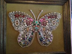 Heirloom Jewelry Butterfly Picture made by my Grandmother for my Mother. #heirloom #jewelry #butterfly #creative #art #create #beautiful