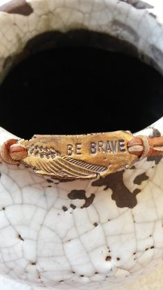 Rustic Bronze & Leather bracelet Be Brave with by TemperedTemper