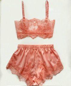 Lingerie set peach lingerie vintage lingerie lace