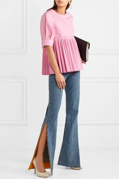 Pink cotton-blend Concealed zip fastening along back 55% cotton, 45% polyester Dry clean Made in Italy