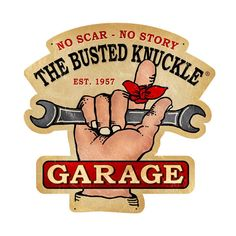From the Busted Knuckle licensed collection, this Busted Knuckle Garage Custom Metal Shape measures 19 inches by 19 inches and weighs in at 3 lb(s). This Custom Metal Shape is hand made in the USA using heavy gauge American steel.<p>This sign is made after it is ordered </p> Garage Signs, Garage Art, Vintage Metal Signs, Vintage Wood, Old Signs, Car Shop, Shop Truck, Custom Metal, Garages